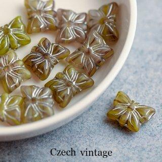 チェコヴィンテージビーズ 蝶々 オリーブグリーン 2個 ガラスビーズ チェコビーズ バタフライ チョウ くすみ緑