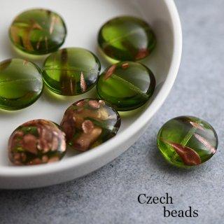 チェコビーズ フラットラウンド マーブル グリーン 2個 ガラスビーズ チェコビーズ クリア 透明 ツートンカラー 緑