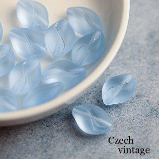 チェコヴィンテージビーズ ダイヤ マットな水色 2個 ナツメ ガラスビーズ チェコビーズ ブルー