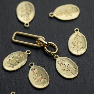 バラ模様の楕円プレートチャーム ゴールド 4個 メタルパーツ 花