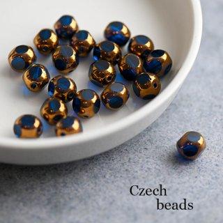 チェコビーズ ウィンドウビーズ 多面カット ゴールド&ブルー 4個 ガラスビーズ 透明 8ミリ スペーサー 青