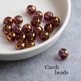チェコビーズ ウィンドウビーズ 多面カット ゴールド&アメジスト 4個 ガラスビーズ 透明 8ミリ スペーサー 紫
