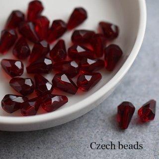 チェコビーズ 多面カット ティアドロップ レッド 4個 ガラスビーズ 透明 ダイヤ しずく 赤