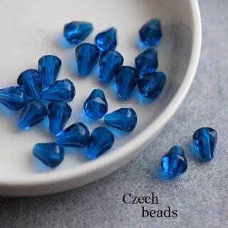 チェコビーズ 多面カット ティアドロップ ブルー 4個 ガラスビーズ 透明 ダイヤ しずく 青