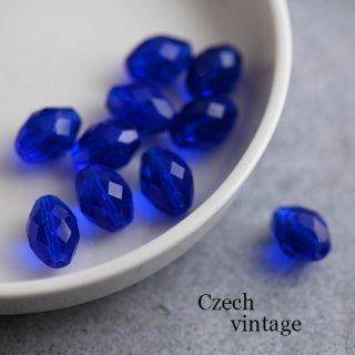 チェコガラスビーズ 多面オーバル コバルトブルー 2個 ガラスビーズ 楕円 ファセットビーズ 青