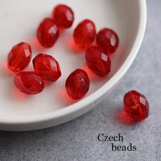 チェコガラスビーズ 多面オーバル レッド 2個 ガラスビーズ 楕円 ファセットビーズ 赤