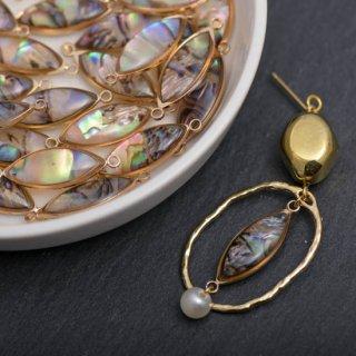 天然シェルのオーバルコネクター ゴールド 4個 メタルパーツ チャーム 貝 天然素材