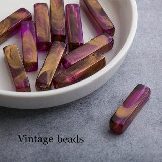 ヴィンテージビーズ 長方形 紫&ゴールド 2個 ルーサイト アクリルビーズ チューブ ウォッシュ仕上げ