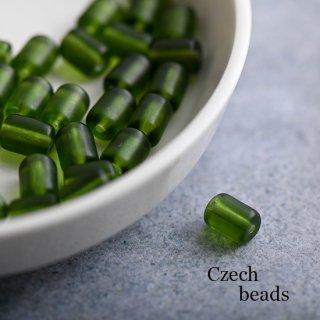 チェコビーズ チューブ ツヤ消しオリーブグリーン 6個 ガラスビーズ スペーサービーズ フロストビーズ 円柱 緑