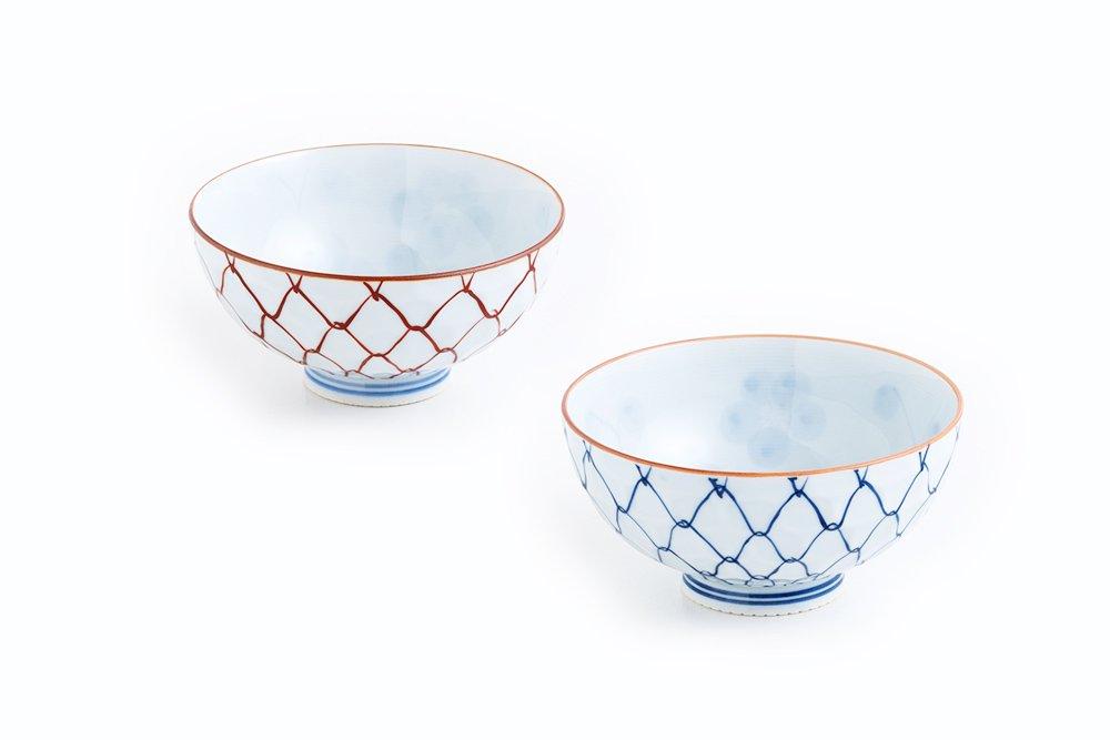 手描き網 茶椀