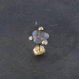【1点物】ブラックダイヤモンド K18ピアス