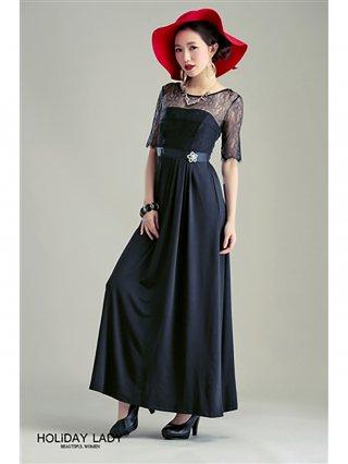 【SS】レディーブラックのロングドレス レース袖付/ラミューズドレス通販