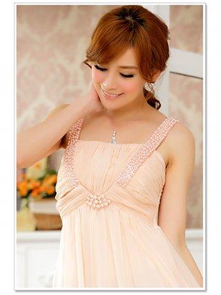 【大きいサイズLL】パールの華やかロングドレス ピンク ラミューズドレス通販 9601