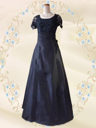 【3L】リカーモブラック 袖付きロングドレス 5737/演奏会 ラミューズドレス