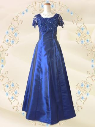 【3L】リカーモブルー 袖付きロングドレス 5737/演奏会 ラミューズドレス