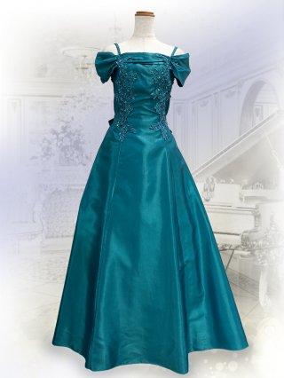 アリアグリーン*オフショルダーロングドレス 8608/演奏会衣装/ラミューズドレス