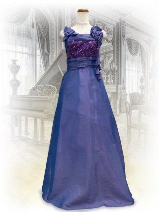 ラメグリッタードレス パープル♪ワンショルダー風 7146ロングドレス 演奏会 ラミューズドレス通販