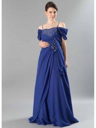 【Lサイズ】ラジアリィダイヤのロングドレス 青・黒 6000ラミューズドレス通販