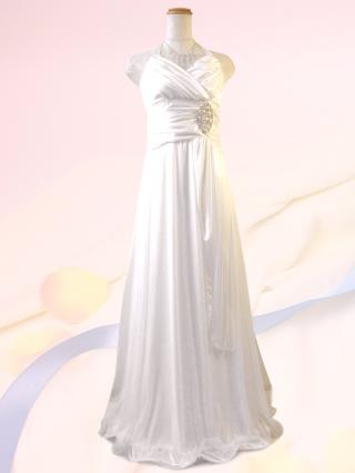 美ライン☆ホルターネックロングドレス ホワイト 6044 / 演奏会 ラミューズドレス通販