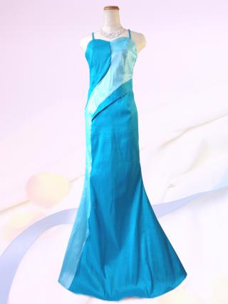 マーメイドライン  マリンブルーのロングドレス9-204/ 演奏会 ラミューズドレス通販