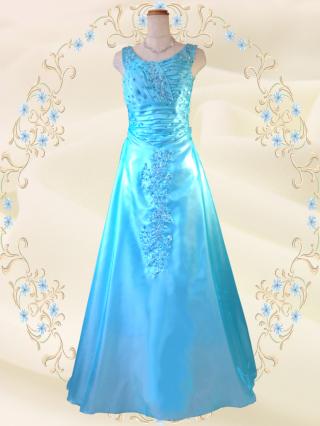 お得なパニエセット☆クリアオーロラのロングドレス ブルー 6231/ 演奏会 ラミューズドレス通販
