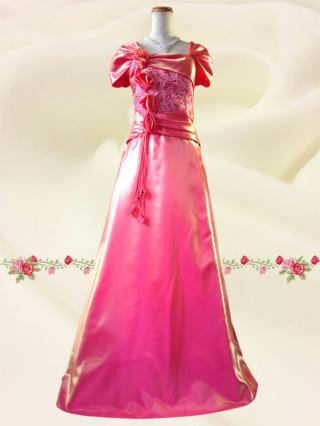 ローズ・アダージョ*袖付きロングドレス 2714 ピンク ステージ衣装/ラミューズドレス通販