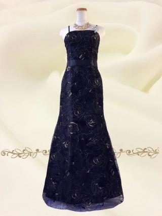 漆黒のジュエリーブラック ロングドレス♪6535 オーケストラ 伴奏 ステージ衣装の通販
