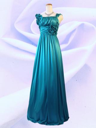 アシンメトリーロングドレス ノースリーブ グリーン  9249/ 演奏会 ラミューズドレス通販