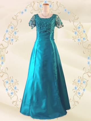 【染料が付着しやすい】リカーモ・グリーン 袖付きロングドレス 2288/  演奏会 ラミューズドレス通販