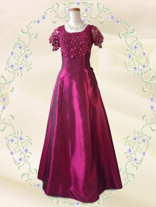 リカーモ・レッド 袖付きロングドレス 2288/  演奏会 ラミューズドレス通販