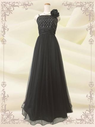 ●グリッターロングドレス ブラック 3489B/ 演奏会 ラミューズドレス通販