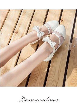 【22cm】2WAY リボンストラップバレエシューズ 5039WHITE/ 舞台靴
