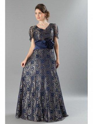 【4L大きいサイズ】ラグジュアリー金糸刺繍・袖付ステージロングドレス  4579 /演奏会