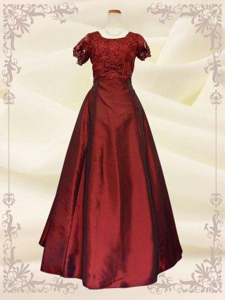 【Lサイズ】ルネサンス・レッドの袖付ステージドレス  4104 /演奏会 ラミューズドレス通販