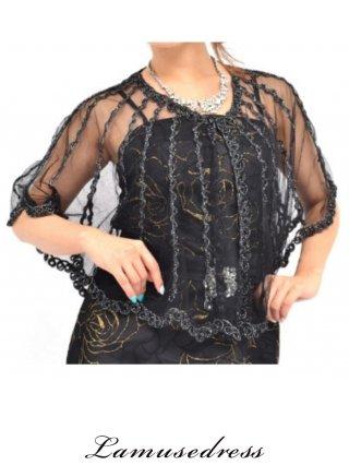 ラメ糸織りポンチョ・ブラック/3217 演奏会用  羽織物