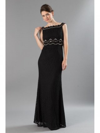 【S・L】着やせスレンダードレス・ブラック パール刺繍2237 / 演奏会 ラミューズドレス通販