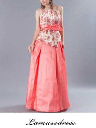 【B品】フラワープリントピンク*ステージ衣装ロングドレス6772/ 演奏会 ラミューズドレス通販