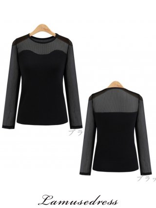 【5XL】細ストライプ 黒ブラウス 長袖 9247000 演奏会ステージ衣装