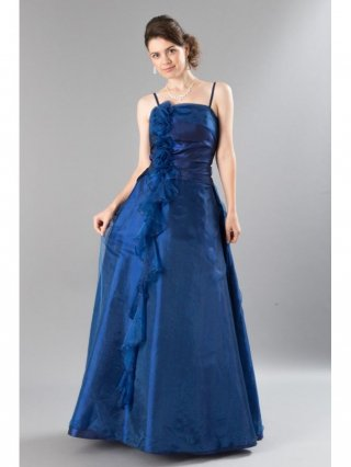 【M・L】ミルテ・フリルロングドレス ブルー3616/演奏会 ラミューズドレス通販