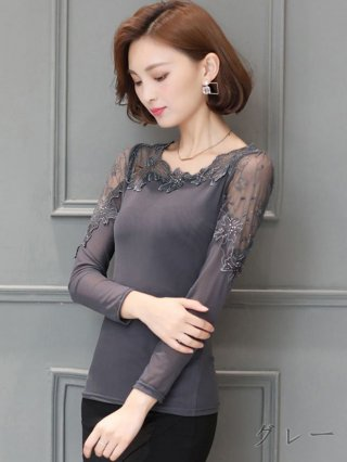 【L・XXXL】グレー・ブラック☆シースルー編みブラウス 半袖 8924587 演奏会ステージ衣装