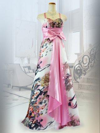 和柄ピンク・パープルロングドレス 0094P パーティー 演奏会ドレス