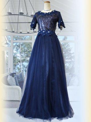 フラワーレース・ネイビー お袖付きロングドレス 5297 演奏会ステージドレス