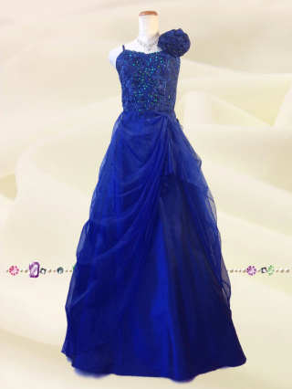○シェル・ブルーのロングドレス  紺 3327/演奏会 ラミューズドレス通販