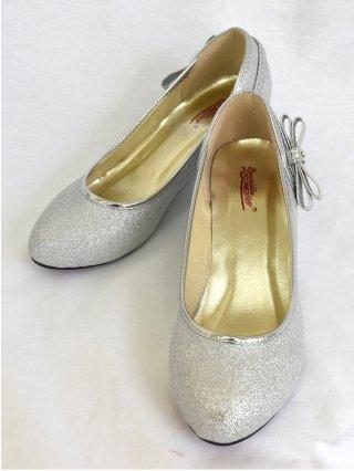 【S.M】シルバーラメ・ウェッジソール ヒールパンプス 演奏会シューズ靴 0835
