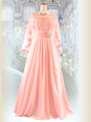 女神ケープ&ブローチ付きロングドレス*ピンク 5579演奏会ステージドレス