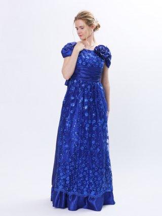 ロイヤルブルーのスパンコールドレス袖付き 6858/演奏会 ラミューズドレス通販