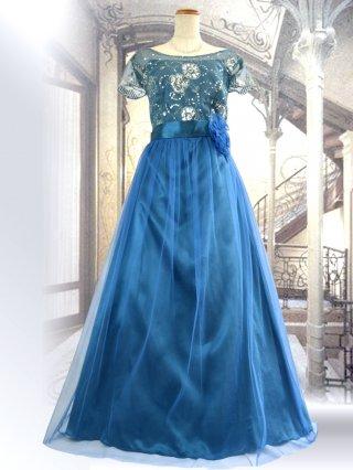【M】【背の低い方に】アリーズ・ブルーお袖付きロングドレス 1284演奏会ステージドレス