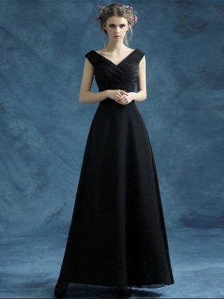 【XS】フレンチスリーブ・ブラックロングドレス 2008 演奏会 ステージドレス