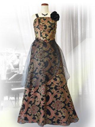 【Lサイズ】和柄ブラックロングドレス 9992 演奏会ロングドレス
