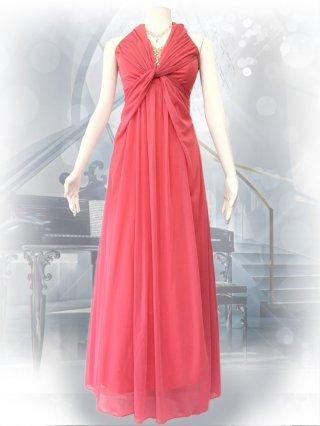 チェリーピンク*ホルターネックロングドレス4939/演奏会ステージドレス
